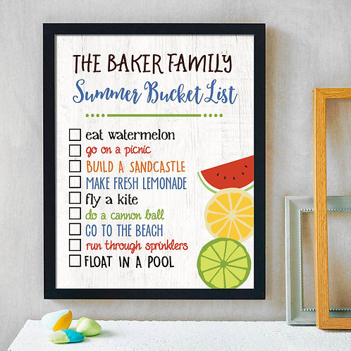 personalized family summer bucket list