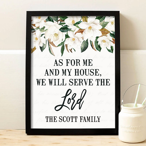 floral my house will serve the lord print