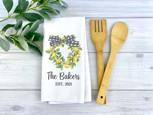 personalized lemon wreath with bow kitchen towel
