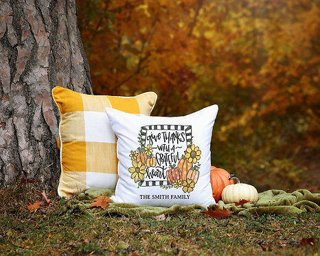 Personalized Give Thanks with a Grateful Heart pillow