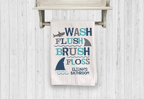 wash flush floss brush shark bathroom towel