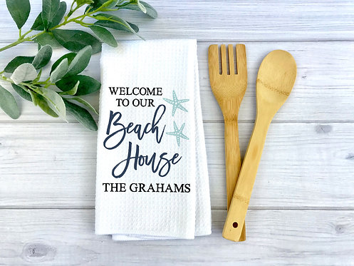 Welcome To Our Beach House Personalized Towel