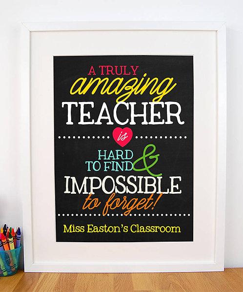 truly amazing teacher chalkboard print