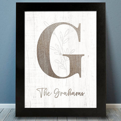 Country Rustic Fall Monogram print