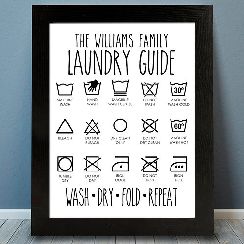 Laundry Guide Picture Steps Print