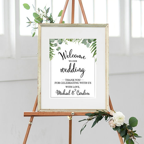 Welcome To Our Wedding Eucalyptus Sign