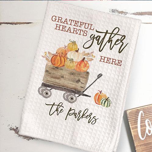 Grateful hearts fall towel