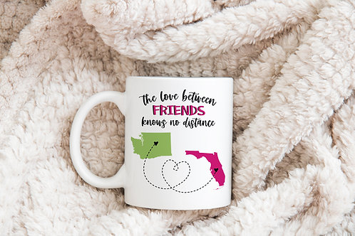 personalized the love between friends knows no distance