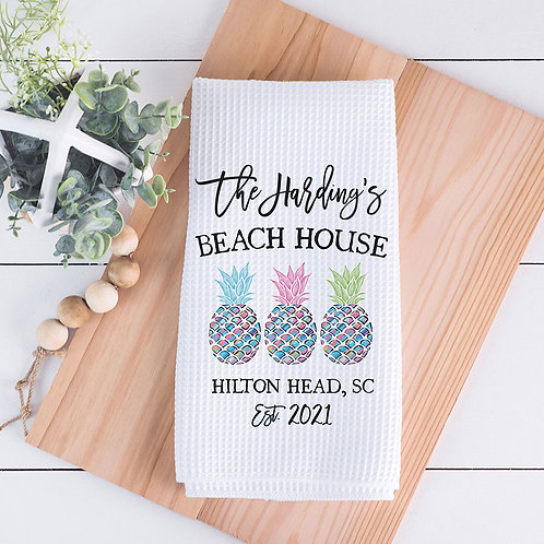 personalized beach house kitchen towel
