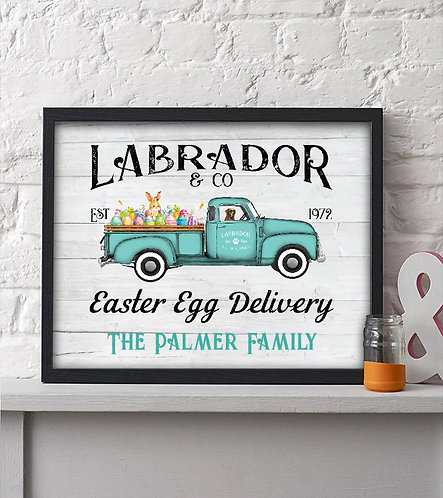 Personalized Labrador & Co. Easter Egg Delivery Print