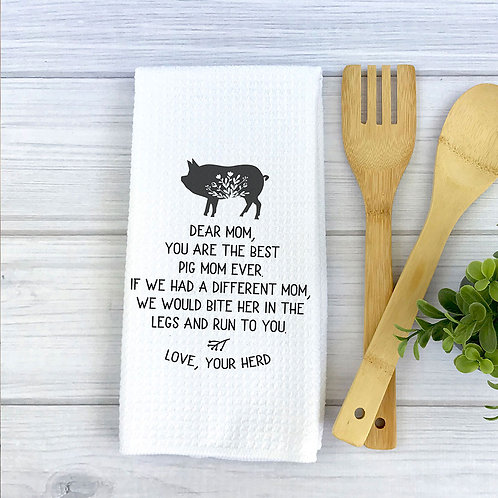 personalized pig mom towel