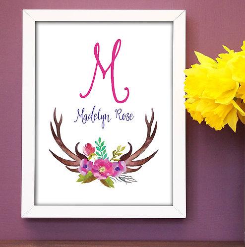 Antler Girl Personalized Flower Print