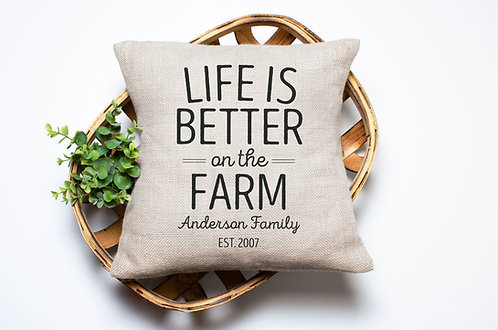 personalized life is better on the farm pillow