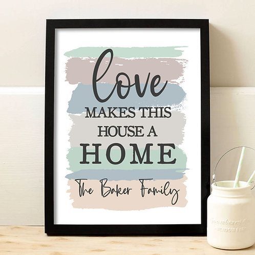 personalized love makes this house a home print