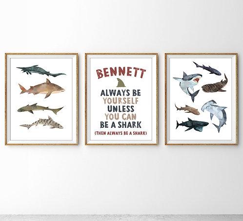 Shark print set of three for shark theme room