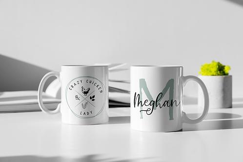 Chicken Lady Monogram Personalized Mug
