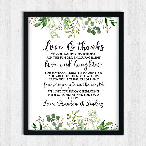 Thanks friends and family wedding sign