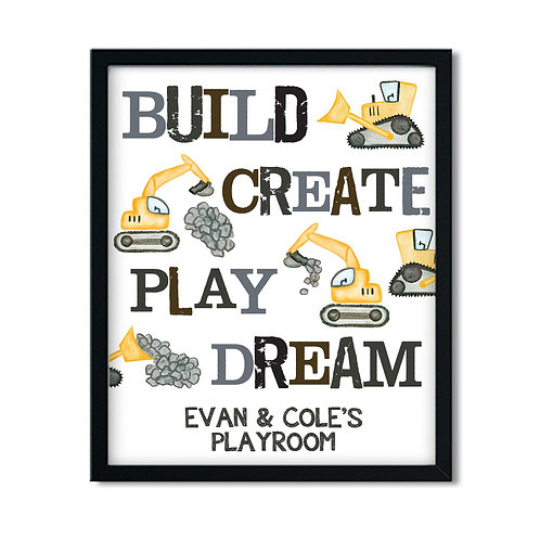 build create play dream bulldozer construction kids bathroom print
