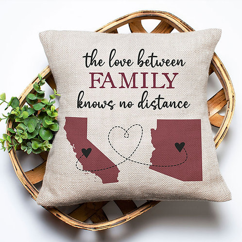 the love between family has no distance pillow