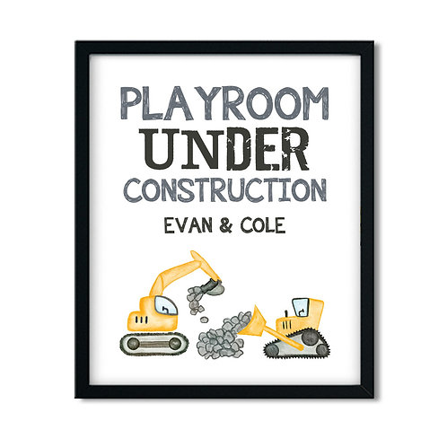 yellow bulldozer construction playroom decor
