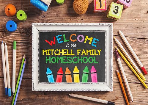 chalkboard and crayons homeschool decor