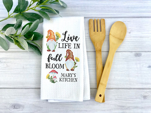 personalized live in full bloom kitchen towel