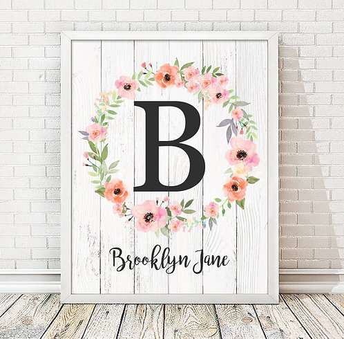 Personalized Floral Wreath Monogram Print with Wooden Background