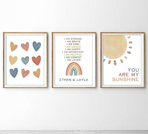 pastel hearts and rainbow print