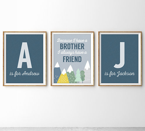 Personalized Set Of Three Brother Print