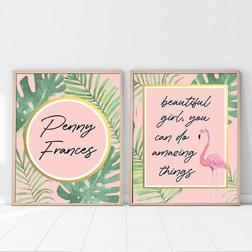 personalized tropical flamingo print