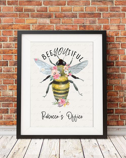 personalized beeYoutiful bee print
