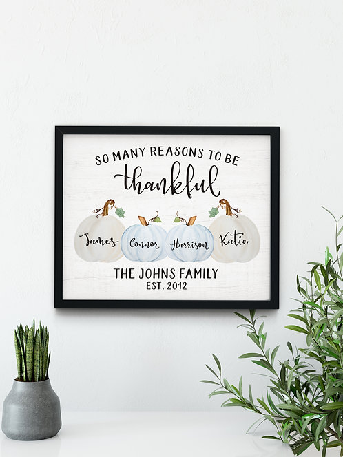 Thankful So Many Reasons, Family Pumpkin Fall Decor