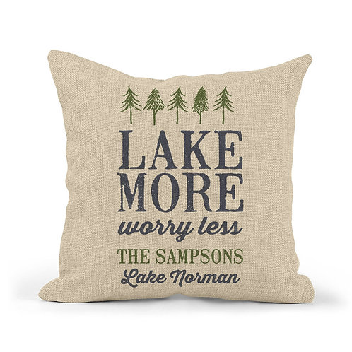 lake more worry less personalized burlap pillow