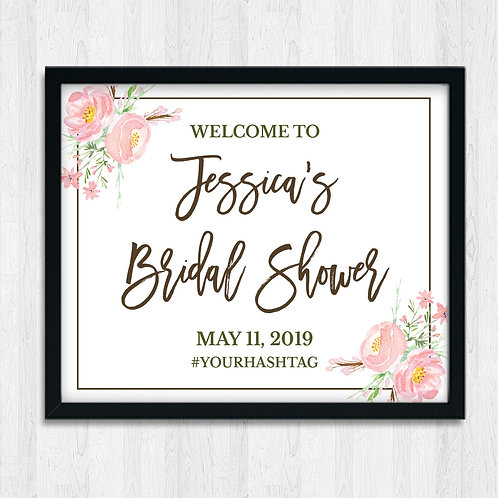 pink floral welcome to the bridal shower