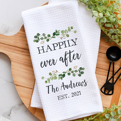 Happily Ever After Newlywed personalized towel