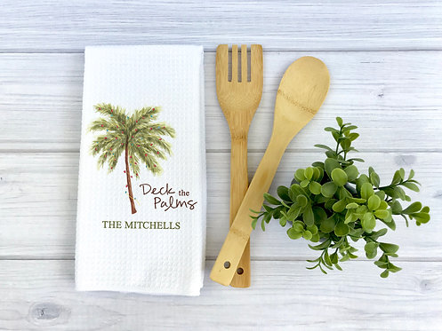 personalized deck the palms kitchen towel