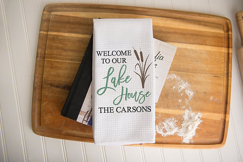 Welcome To Our Lake House Personalized Towel