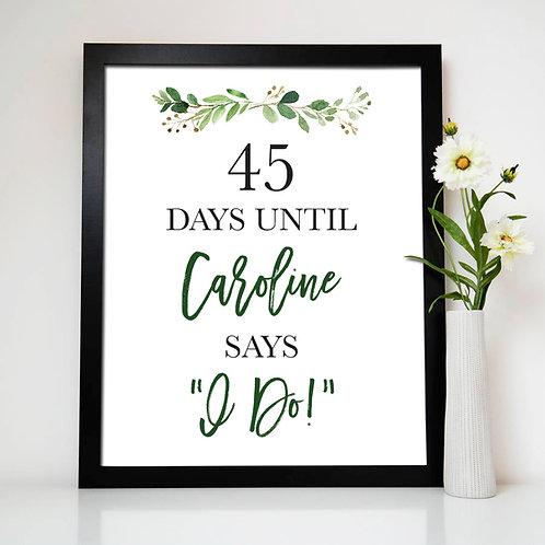Days Until I Say I Do Print