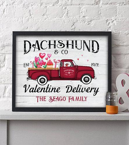 Dachshund Valentines Day Print