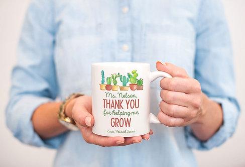 Personalized Cactus Teacher Appreciation Mug