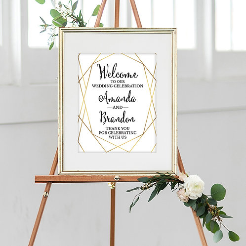Gold Wedding Welcome Sign
