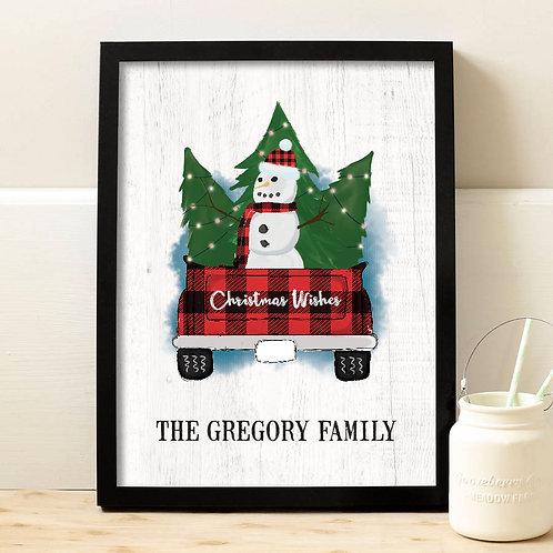 personalized snowman christmas print