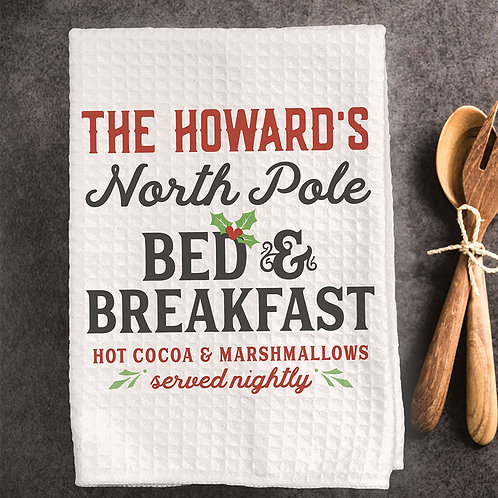 north pole bed and breakfast christmas towel