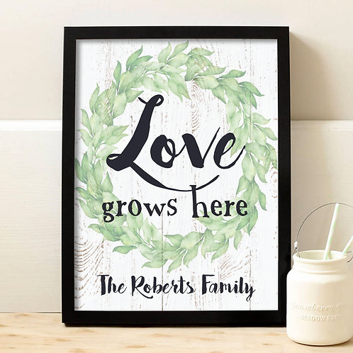 rustic love grows here personalized print