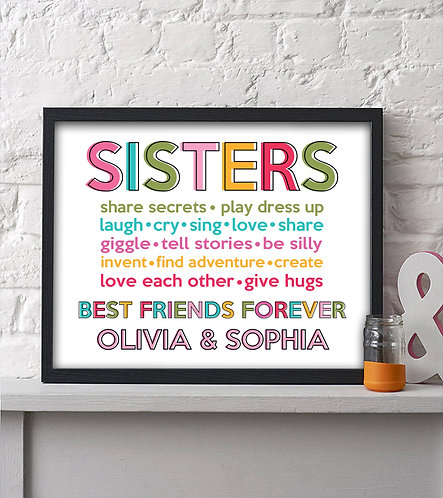 Personalized Sisters Best Friends Forever Print