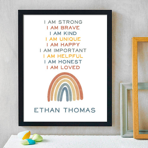 Personalized I Am Loved Pastel Rainbow Print