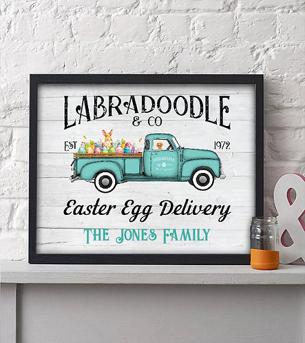 rustic labradoodle easter egg delivery print