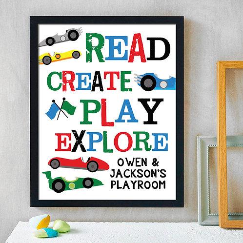 playroom colorful racecar decor