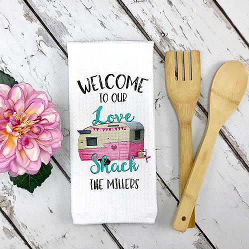 Love shack valentines camping towel