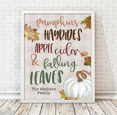 personalized fall activity with autumn colors wall art